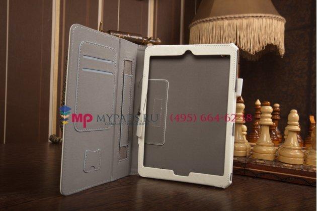 """Фирменный чехол-обложка для Acer Iconia Tab A1-830/A1-831 с визитницей и держателем для руки белый натуральная кожа """"Prestige"""" Италия"""