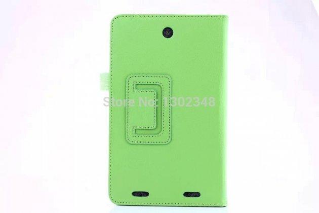 """Фирменный чехол бизнес класса для Acer Iconia Tab 8W W1-810-11ML с визитницей и держателем для руки зелёный натуральная кожа """"Prestige"""" Италия"""
