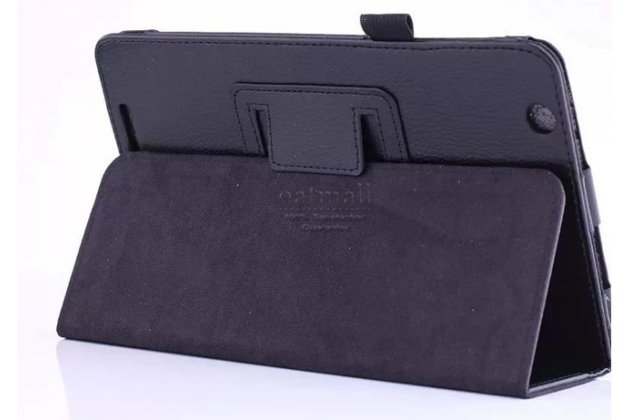 Фирменный оригинальный чехол обложка с подставкой для Acer Iconia One 8 B1-810/B1-811 черный кожаный