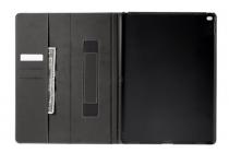 """Фирменный чехол открытого типа без рамки вокруг экрана с мульти-подставкой визитницей и держателем для руки для iPad Pro 12.9"""" малиновый натуральная кожа """"Deluxe"""" Италия"""