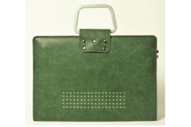 Фирменный премиальный чехол-обложка-футляр-сумка с подставкой и вырезом под тачпад для Apple MacBook Air 11 Early 2015 (MJVM2/ MJVP2) 11.6 из импортной кожи зеленый