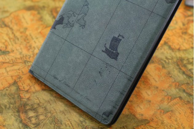 """Чехол-обложка для ipad 2/3/4 new тематика """"карта мира"""" кожаный серый"""
