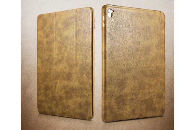"""Фирменный премиальный чехол бизнес класса для iPad Pro 9.7"""" из качественной импортной кожи светло-коричневый"""