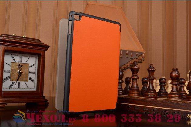 """Фирменный умный чехол-книжка самый тонкий в мире для iPad mini 4 """"Il Sottile"""" оранжевый кожаный"""
