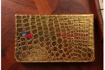 Эксклюзивный чехол обложка футляр для iPad Mini 4 кожа крокодила золотой. Только в нашем магазине. Количество ограничено