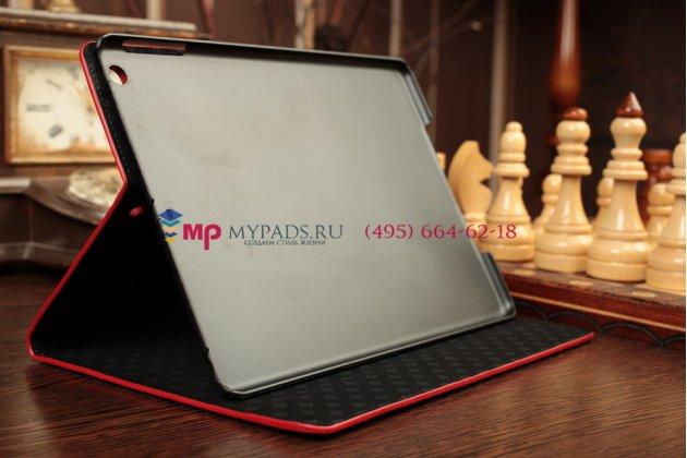 Фирменный чехол с мульти-подставкой для iPad Air 1 лаковая кожа крокодила алый огненный красный