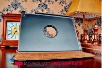 Фирменный чехол-обложка для iPad Air в клетку коричнеый кожаный