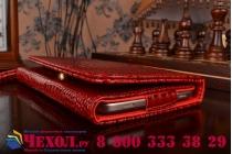 Фирменный роскошный эксклюзивный чехол-клатч/портмоне/сумочка/кошелек из лаковой кожи крокодила для планшетов Acer Iconia Tab One X 7 B1-740/B1-741. Только в нашем магазине. Количество ограничено.
