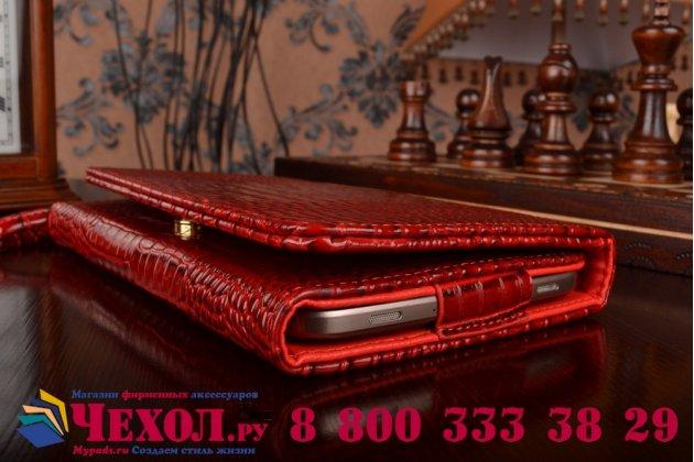 Фирменный роскошный эксклюзивный чехол-клатч/портмоне/сумочка/кошелек из лаковой кожи крокодила для планшетов Iconia Tab B1-710/B1-711. Только в нашем магазине. Количество ограничено.