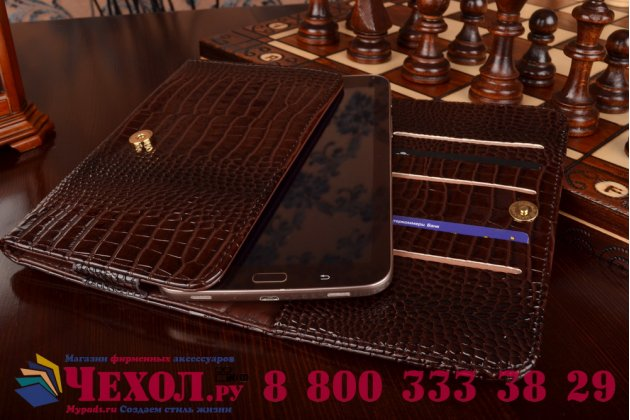 Фирменный роскошный эксклюзивный чехол-клатч/портмоне/сумочка/кошелек из лаковой кожи крокодила для планшетов Acer Iconia Tab A3-A10/A3-A11. Только в нашем магазине. Количество ограничено.