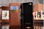 Фирменный чехол-книжка для  ZTE Blade A610 / BA610T 5.0 с визитницей и мультиподставкой коричневый кожаный