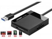 Портативный Карт-ридер USB 3.0 SD/ MMC/ MS/ CF/ TF подходит для всех видов фотоаппаратов и мобильных телефонов черный