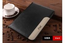 Фирменный чехол-обложка для iPad Air 2 с визитницей и держателем для руки из качественной импортной кожи черный