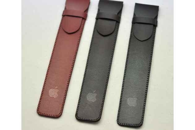 Фирменный чехол-футляр-карман для стилуса Apple Pencil из качественной импортной кожи с защитным хлястиком