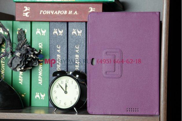 Фирменный чехол для Asus EEE Pad Transformer Prime TF201/TF201G фиолетовый кожаный