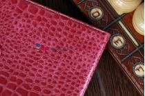 Лаковая блестящая кожа под крокодила чехол-обложка для iPad Mini малиновый