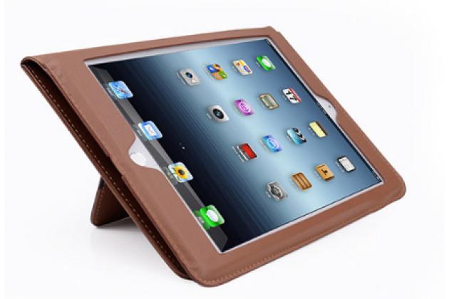 Фирменный премиальный чехол бизнес класса для Apple iPad 2/3/4 с визитницей из качественной импортной кожи коричневый